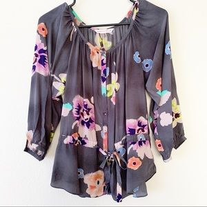 Rebecca Taylor Floral Silk Drawstring Tunic Top